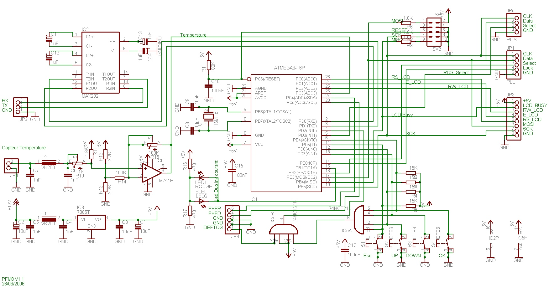 PFM8_schema µp avr atmega8 board for pll management