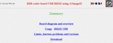 g laroche web site last newsnew page including a complete study of an rds coder usb rs232 using a atmega32 (board file available with kicad format) c software opensource available